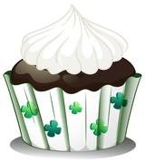 Stock Illustration of A chocolate cupcake with white icing