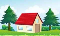 A house at the hill Stock Illustration
