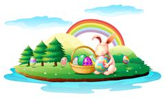 An island with a bunny and a basket of easter eggs - stock illustration