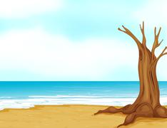 Stock Illustration of A tree without leaves near the beach