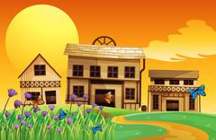 Stock Illustration of A pathway in the hills going to the wooden houses