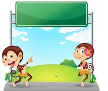 Stock Illustration of Two playful monkeys in front of the empty green board