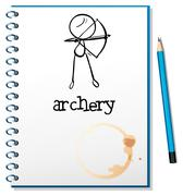 A notebook with an archery design - stock illustration