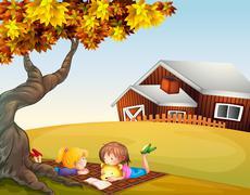 Kids reading under a big tree - stock illustration