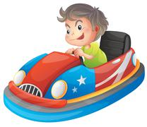 A young boy riding a bumper car Stock Illustration