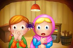 Stock Illustration of Two girls watching the spider