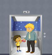 A man and a kid inside the elevator Stock Illustration