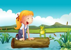 A girl with a frog in the river - stock illustration