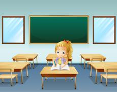 A girl writing with an empty board at the back Stock Illustration