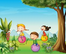 Three kids having fun with a bouncing ball - stock illustration