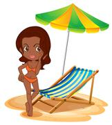 A tan lady at the beach Stock Illustration