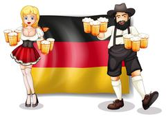 The flag of Germany with a man and a woman - stock illustration
