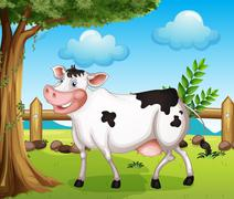 A cow in the backyard - stock illustration