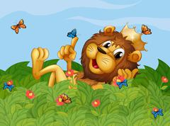 A lion in the garden with butterflies - stock illustration