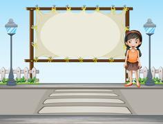 A girl beside a rectangular signage - stock illustration