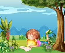 A girl with a bear reading a book - stock illustration