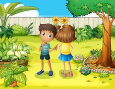 Stock Illustration of A boy and a girl arguing in the garden