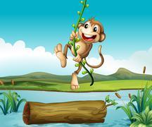 A monkey swinging Stock Illustration