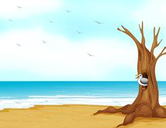 A bird inside the tree hollow at the seashore - stock illustration