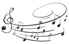 The musical notes with the G-clef Stock Illustration