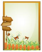 A framed empty signage with wooden arrowboards - stock illustration