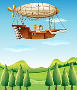 Two girls riding in an airship - stock illustration