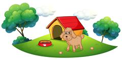 Stock Illustration of A brown puppy playing ouside the dog house