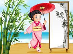 A girl in a kimono attire - stock illustration