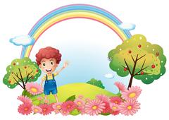 A boy at the hill with a rainbow Stock Illustration