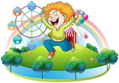 Stock Illustration of A happy kid in an island with a carnival