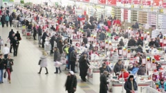 Customers buy products at checkout in Auchan. Stock Footage