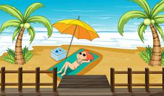 Stock Illustration of A girl sunbathing at the shore