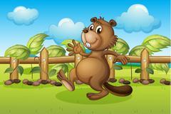A beaver running inside a fence - stock illustration