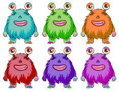 Six colorful aliens Stock Illustration