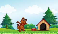 A playful brown puppy - stock illustration