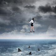 business risk with woman on the rope - stock illustration