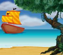 A wooden boat near the shoreline - stock illustration