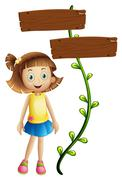 A girl at the back of a two-plank signboard - stock illustration