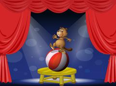 A beaver balancing with a ball Stock Illustration