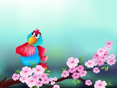 Stock Illustration of A parrot at the branch of a tree with pink flowers