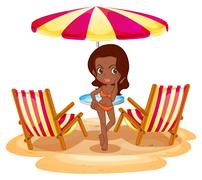 A tan lady at the beach near the beach umbrella and chairs - stock illustration