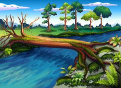 Stock Illustration of A tree with algae at the river