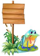 A lonely frog beside the empty board - stock illustration