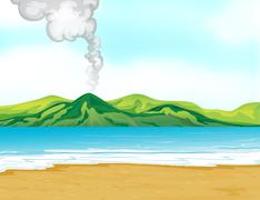 Stock Illustration of A view of the beach near a volcano