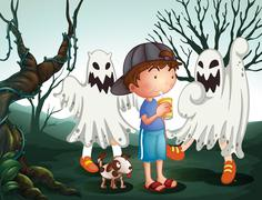 Stock Illustration of A boy and his pet at the graveyard with ghosts