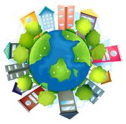 The earth with the man-made buildings and the natural resources - stock illustration