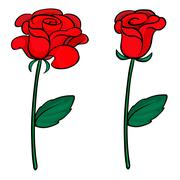 Two red roses Stock Illustration