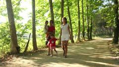 Family on holidays, enjoying day out in nature Stock Footage