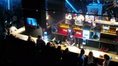 People enjoying an evening at Stadium Live Bar Stock Footage