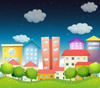 Stock Illustration of A view of the city in the middle of the night